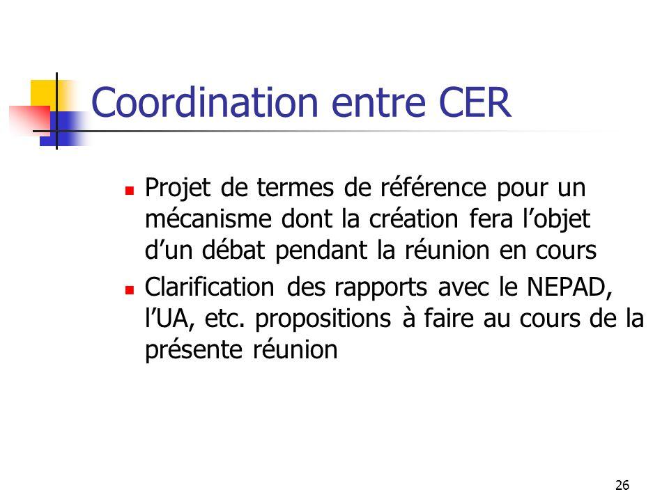 Coordination entre CER