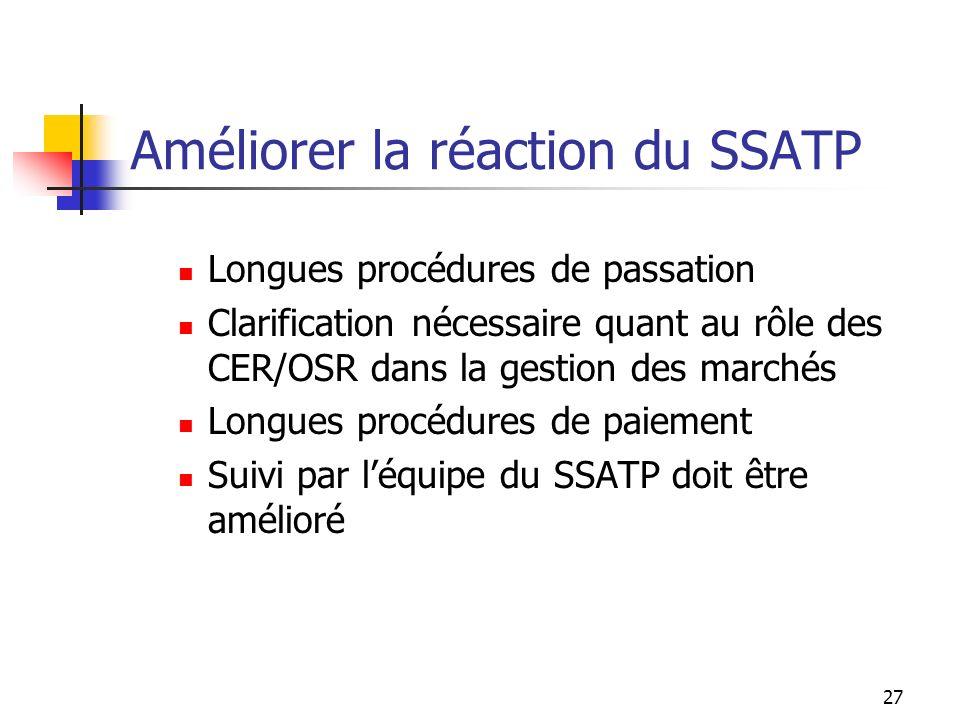 Améliorer la réaction du SSATP