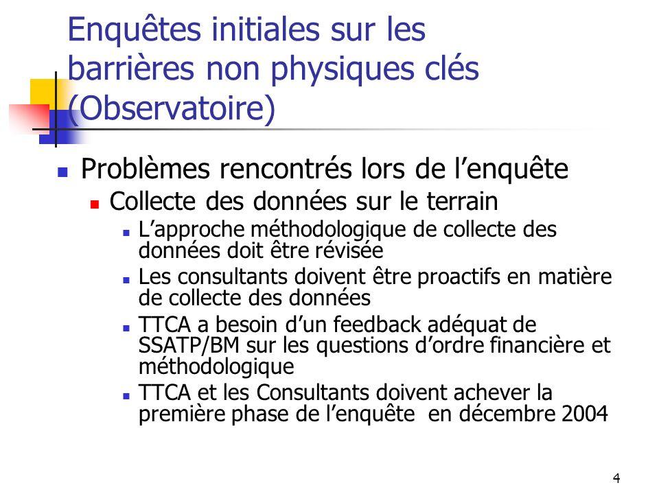 Enquêtes initiales sur les barrières non physiques clés (Observatoire)
