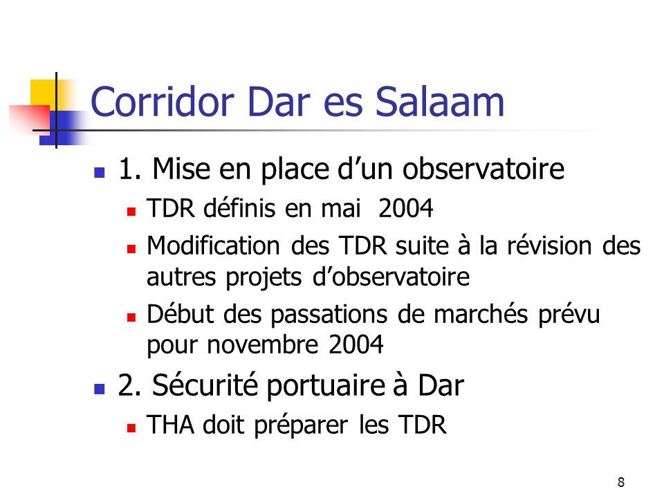 Corridor Dar es Salaam 1. Mise en place d'un observatoire