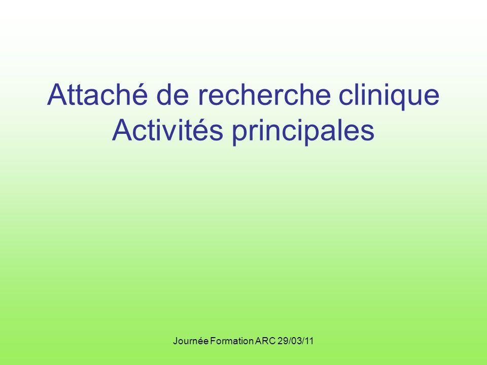 Attaché de recherche clinique Activités principales