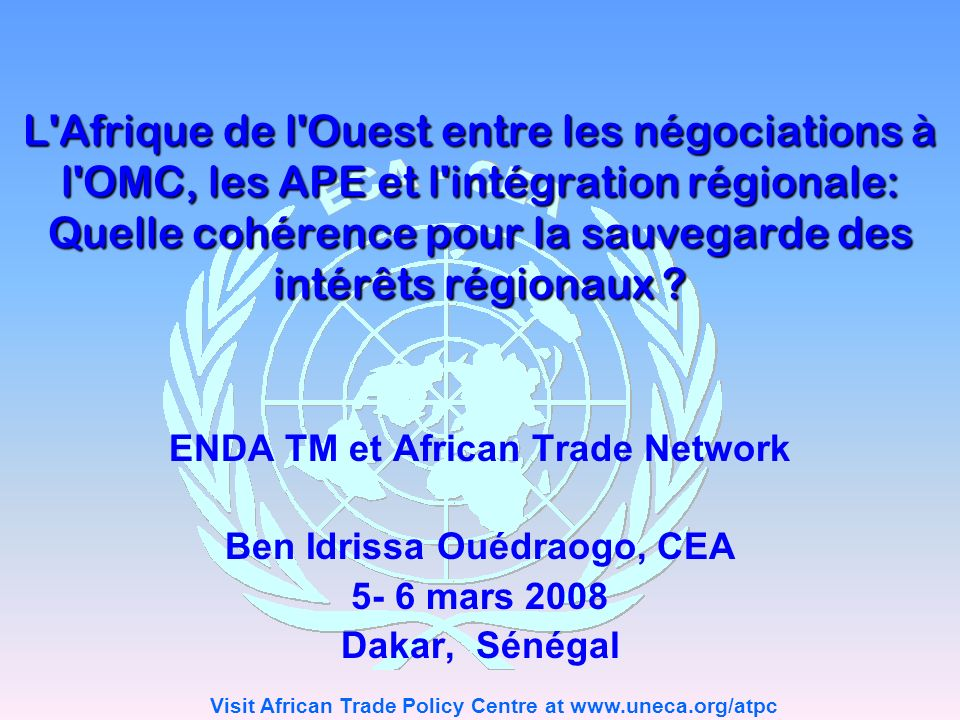 ENDA TM et African Trade Network Ben Idrissa Ouédraogo, CEA