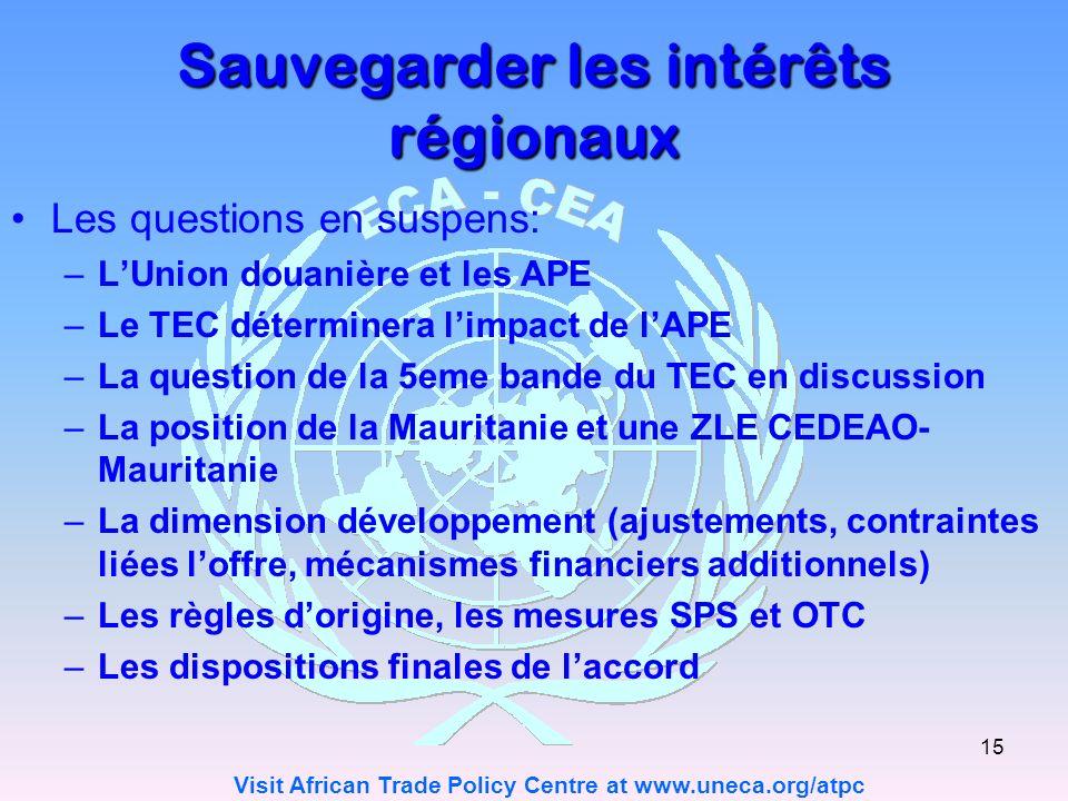 Sauvegarder les intérêts régionaux