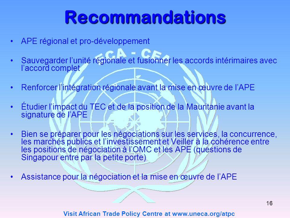 Recommandations APE régional et pro-développement