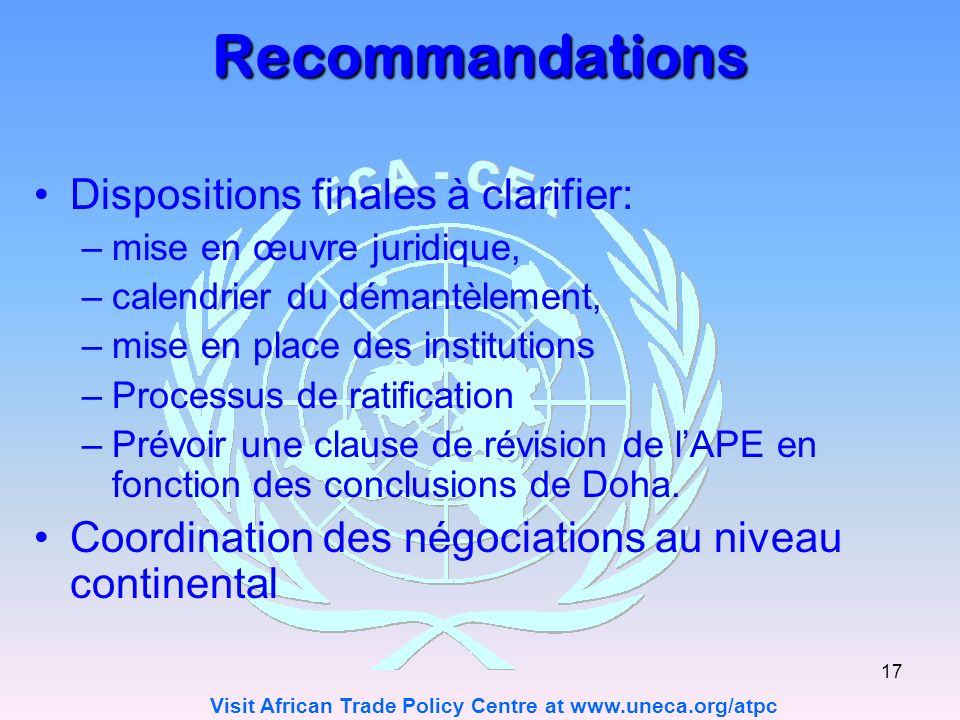 Recommandations Dispositions finales à clarifier: