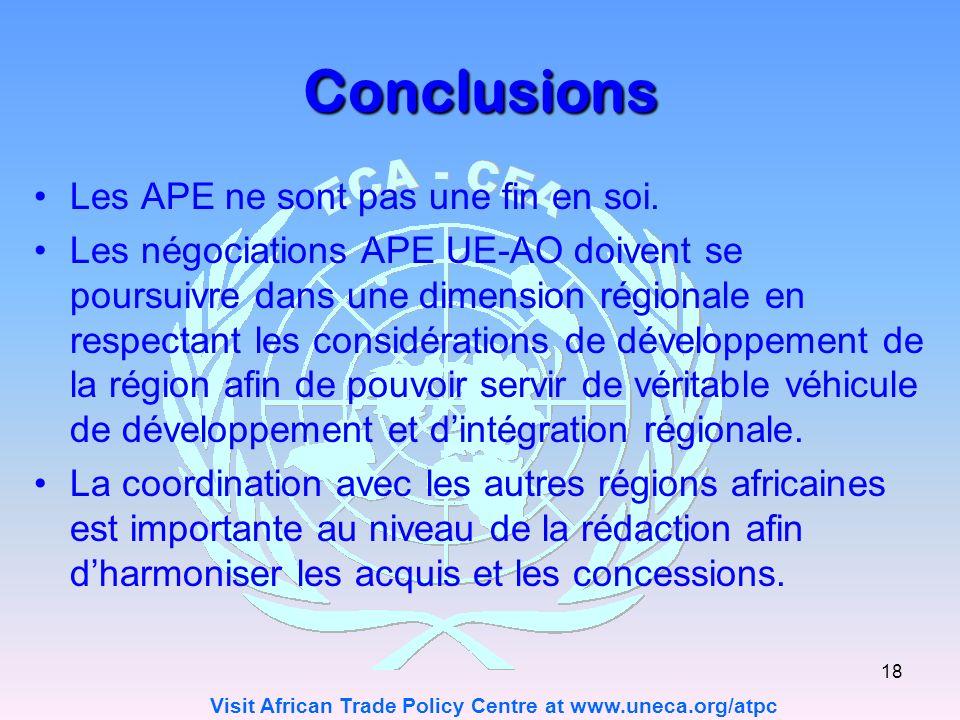 Conclusions Les APE ne sont pas une fin en soi.