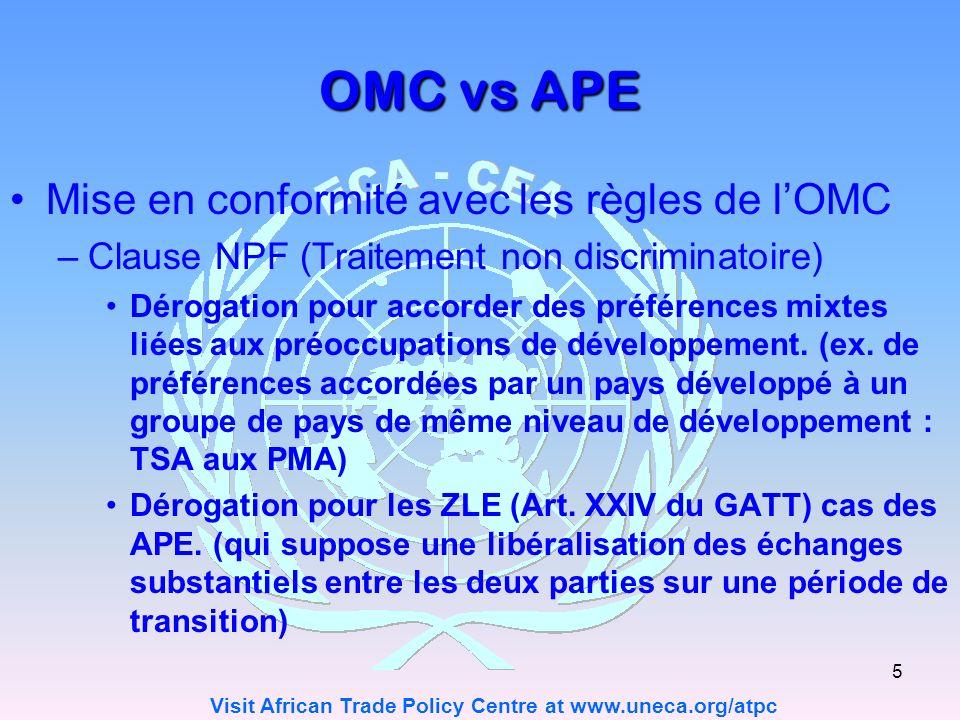 OMC vs APE Mise en conformité avec les règles de l'OMC