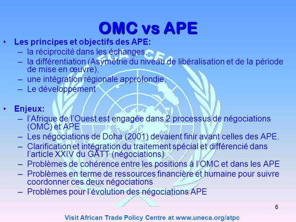 OMC vs APE Les principes et objectifs des APE: