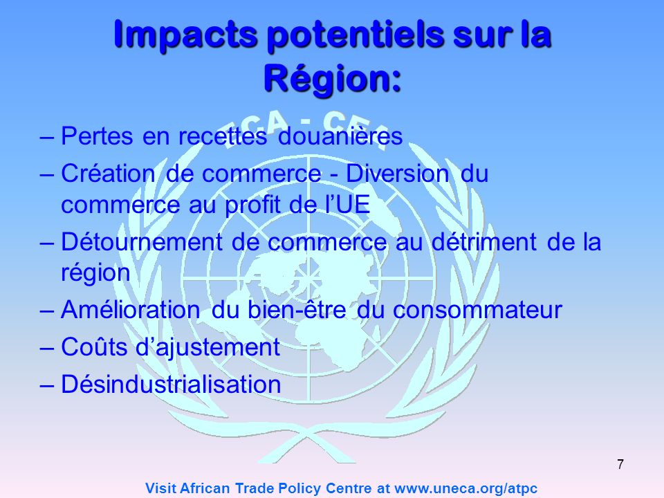 Impacts potentiels sur la Région: