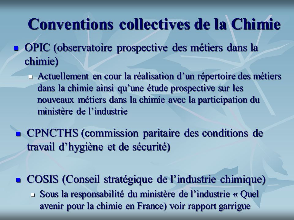 Conventions collectives de la Chimie