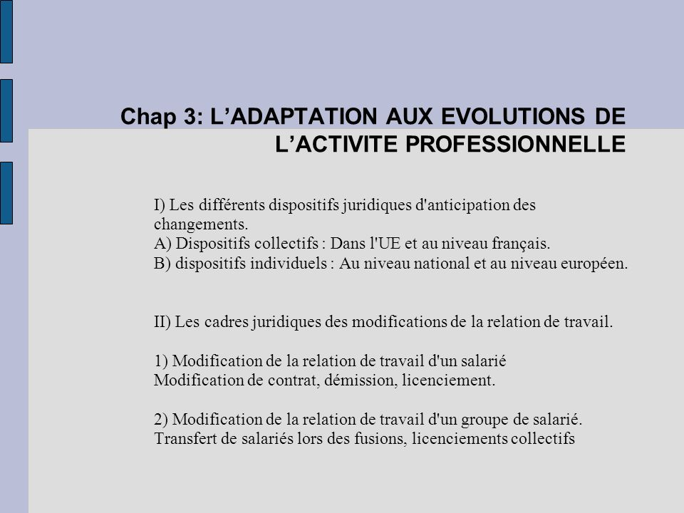 Chap 3: L'ADAPTATION AUX EVOLUTIONS DE L'ACTIVITE PROFESSIONNELLE