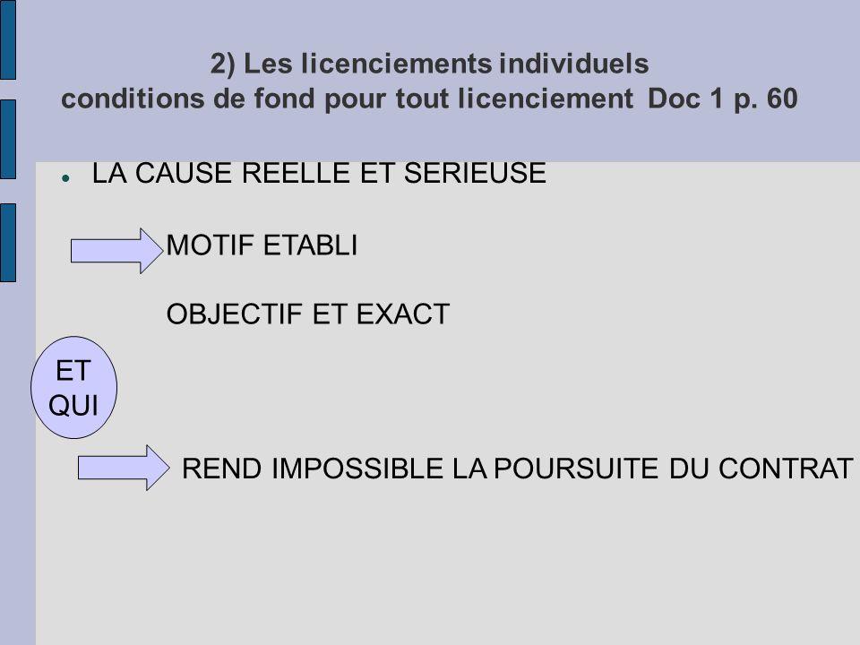 2) Les licenciements individuels conditions de fond pour tout licenciement Doc 1 p. 60