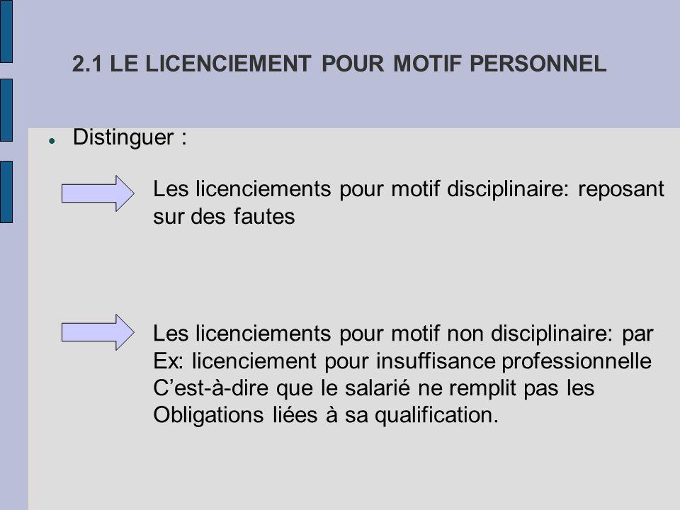 2.1 LE LICENCIEMENT POUR MOTIF PERSONNEL
