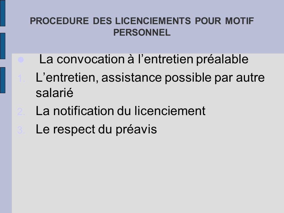 PROCEDURE DES LICENCIEMENTS POUR MOTIF PERSONNEL