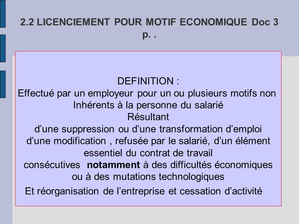 2.2 LICENCIEMENT POUR MOTIF ECONOMIQUE Doc 3 p. .