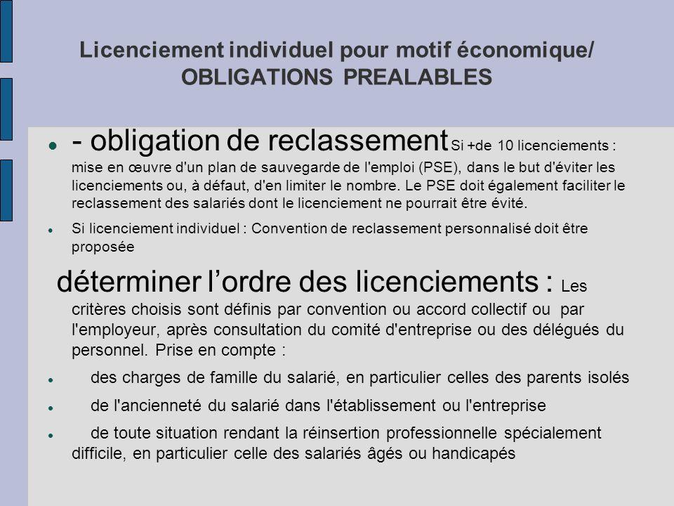 Licenciement individuel pour motif économique/ OBLIGATIONS PREALABLES
