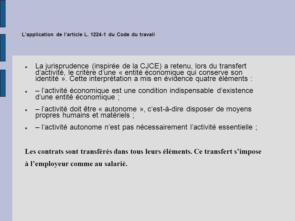 L'application de l'article L. 1224-1 du Code du travail