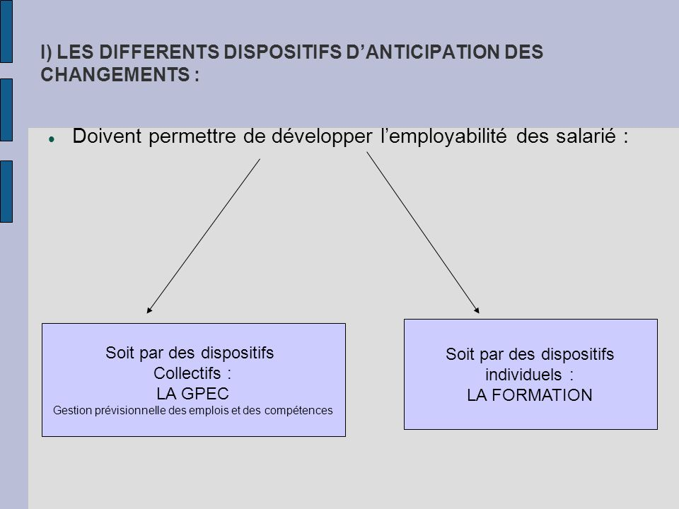 I) LES DIFFERENTS DISPOSITIFS D'ANTICIPATION DES CHANGEMENTS :