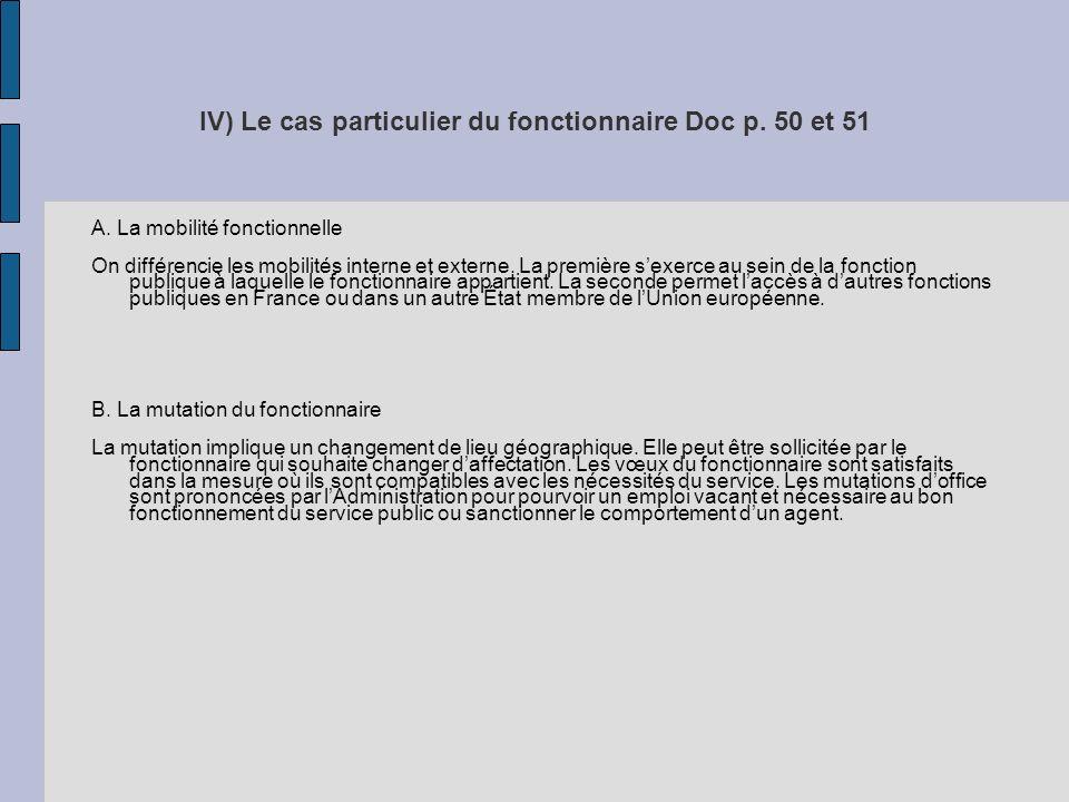 IV) Le cas particulier du fonctionnaire Doc p. 50 et 51