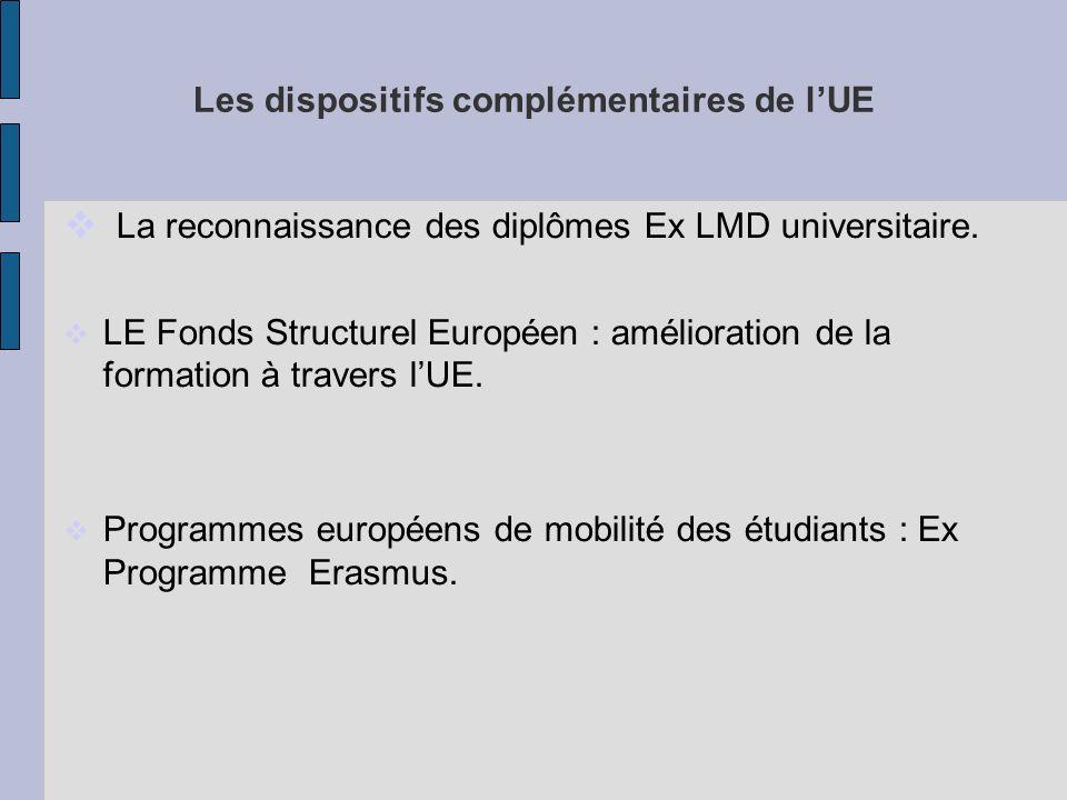 Les dispositifs complémentaires de l'UE
