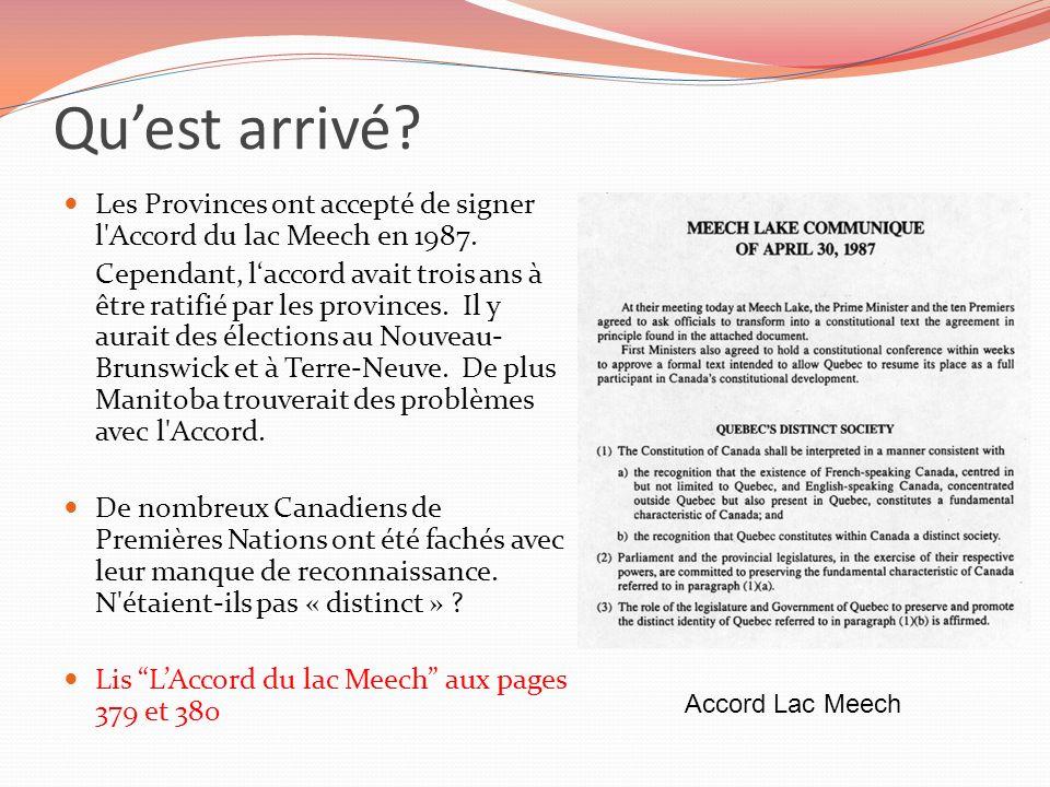 Qu'est arrivé Les Provinces ont accepté de signer l Accord du lac Meech en 1987.