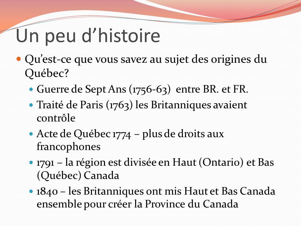 Un peu d'histoire Qu'est-ce que vous savez au sujet des origines du Québec Guerre de Sept Ans (1756-63) entre BR. et FR.