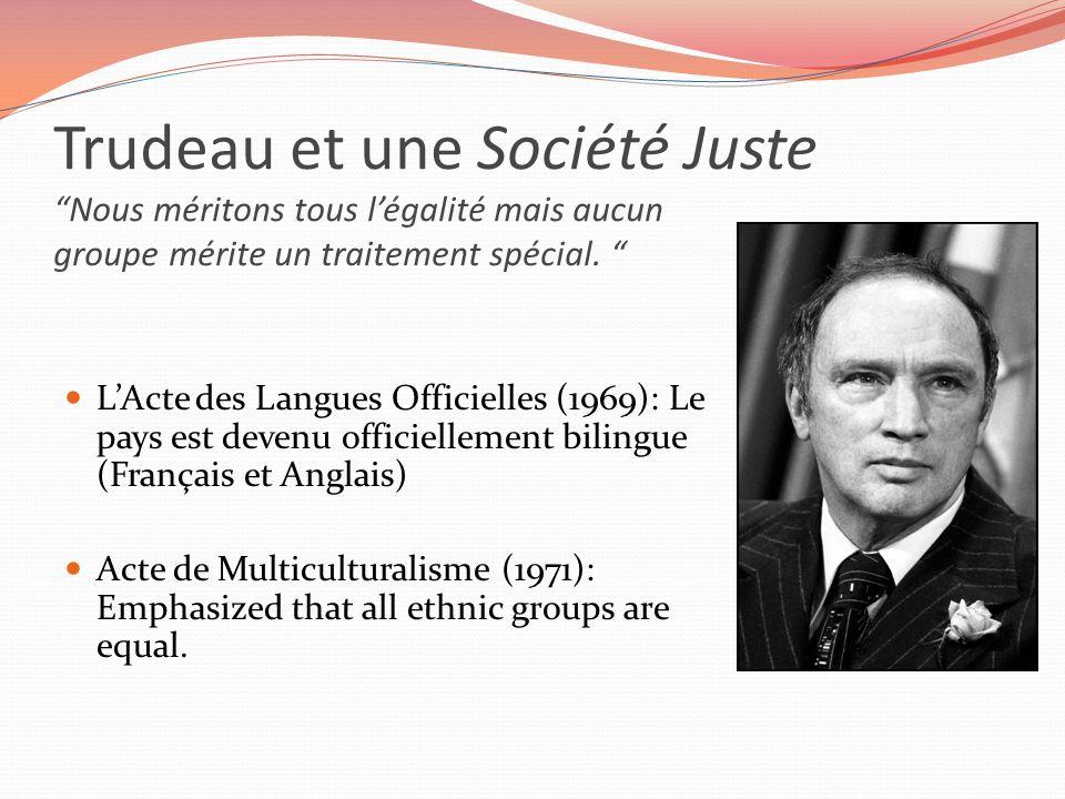 Trudeau et une Société Juste Nous méritons tous l'égalité mais aucun groupe mérite un traitement spécial.