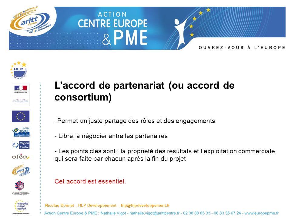 L'accord de partenariat (ou accord de consortium)