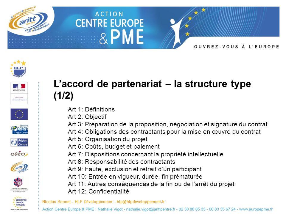 L'accord de partenariat – la structure type (1/2)
