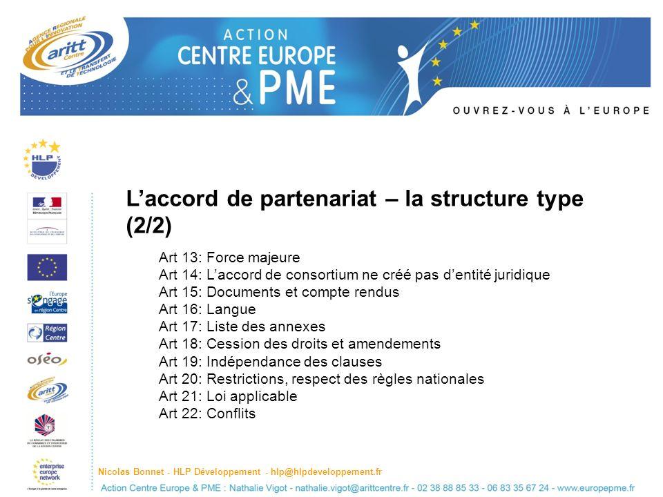 L'accord de partenariat – la structure type (2/2)