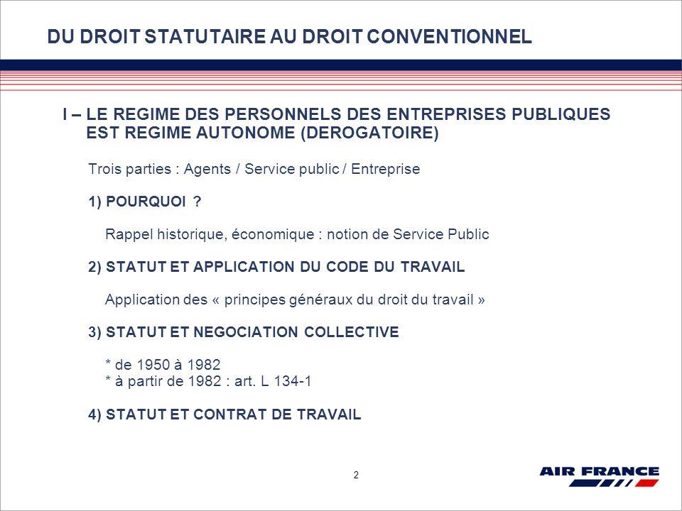 DU DROIT STATUTAIRE AU DROIT CONVENTIONNEL