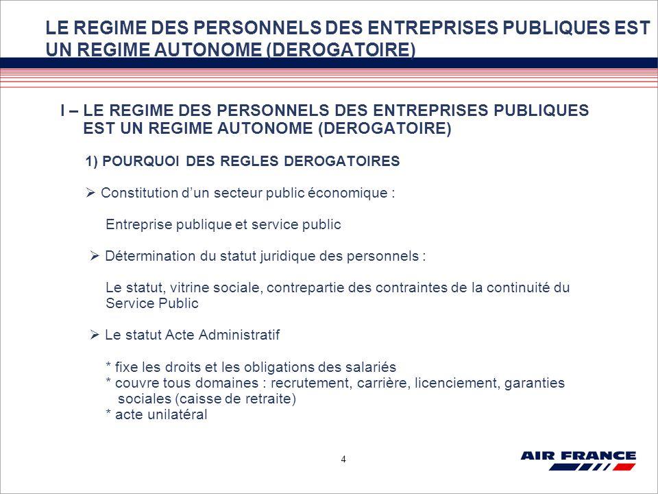 LE REGIME DES PERSONNELS DES ENTREPRISES PUBLIQUES EST UN REGIME AUTONOME (DEROGATOIRE)
