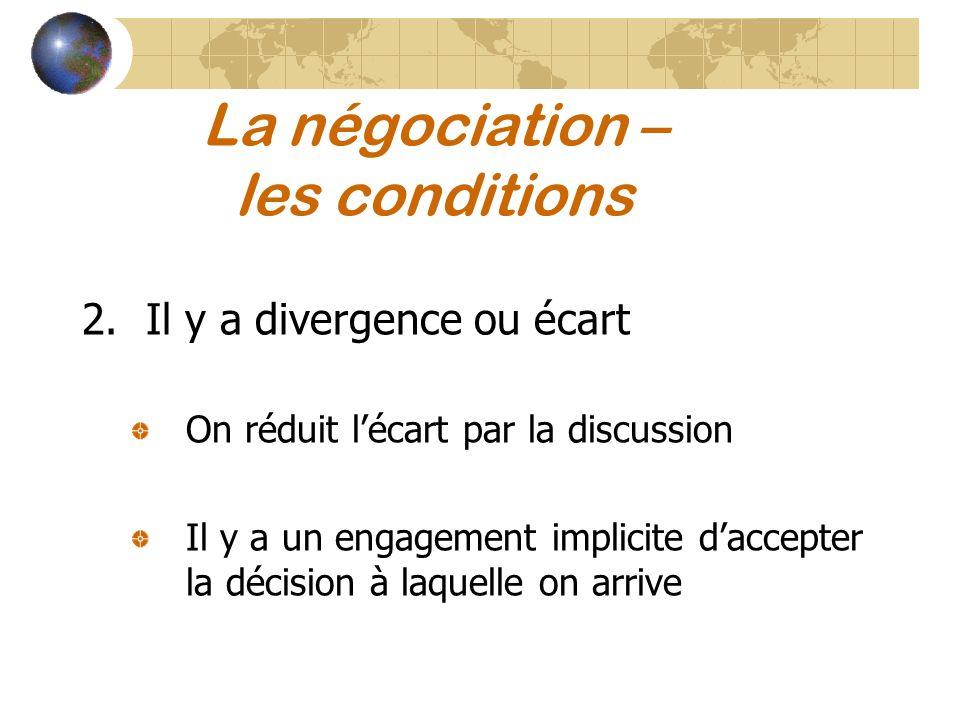 La négociation – les conditions