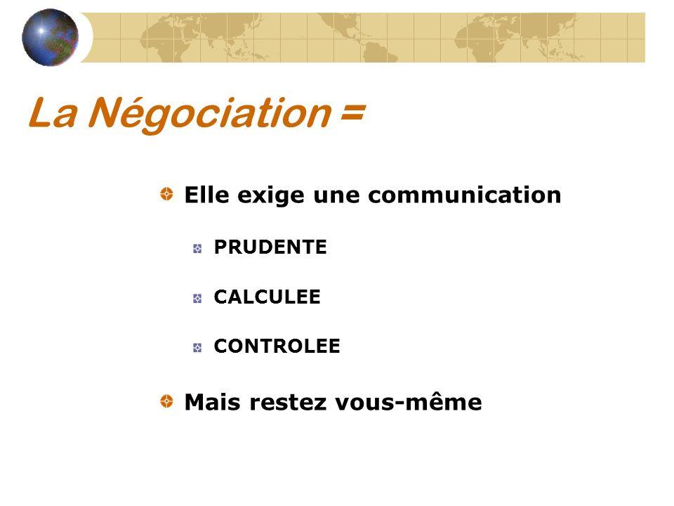 La Négociation = Elle exige une communication Mais restez vous-même