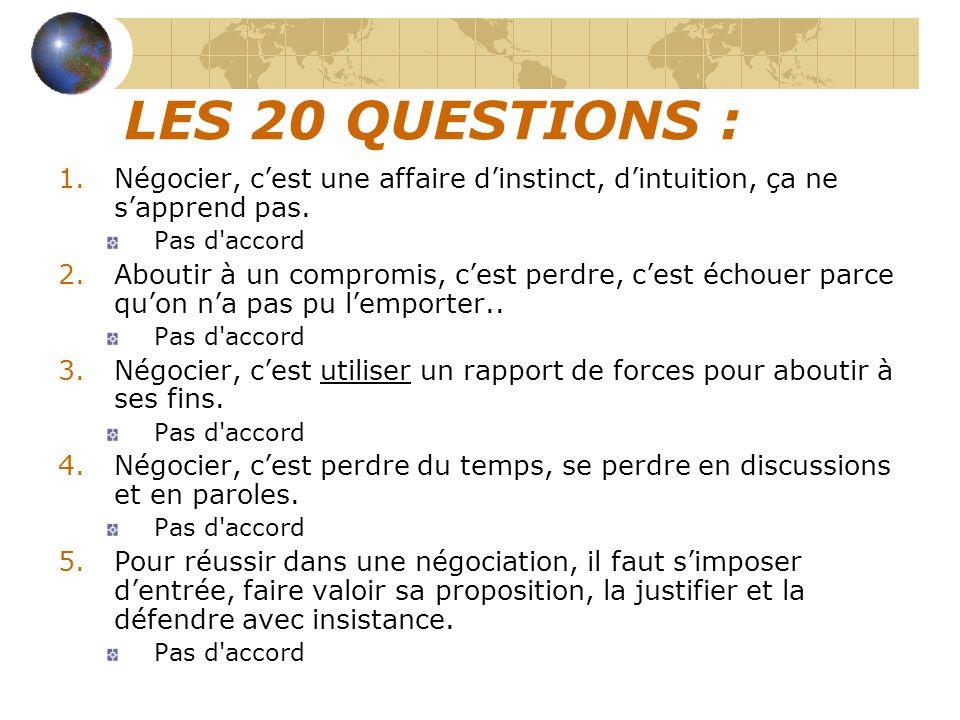 LES 20 QUESTIONS : Négocier, c'est une affaire d'instinct, d'intuition, ça ne s'apprend pas. Pas d accord.