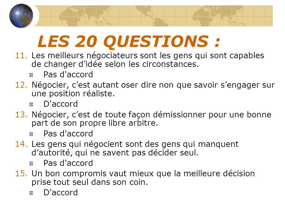 LES 20 QUESTIONS : Les meilleurs négociateurs sont les gens qui sont capables de changer d'idée selon les circonstances.