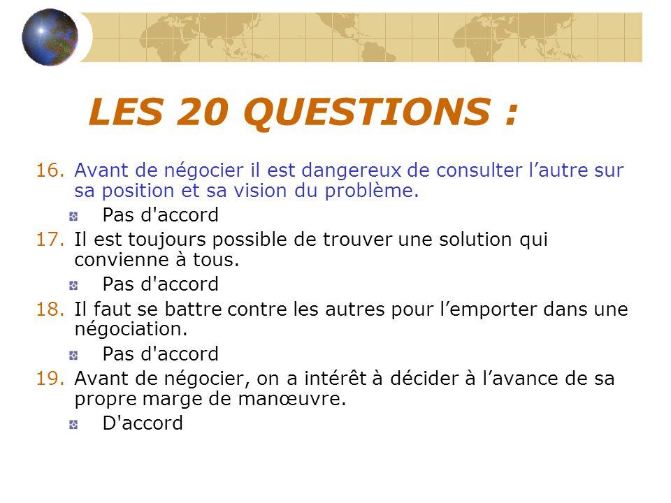 LES 20 QUESTIONS : Pas d accord