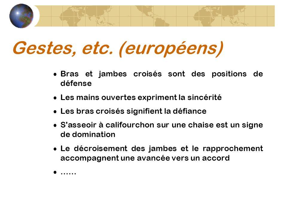 Gestes, etc. (européens)
