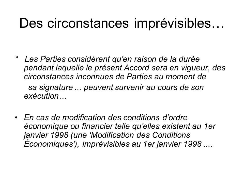 Des circonstances imprévisibles…