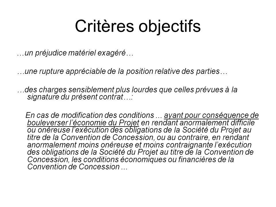 Critères objectifs …un préjudice matériel exagéré…