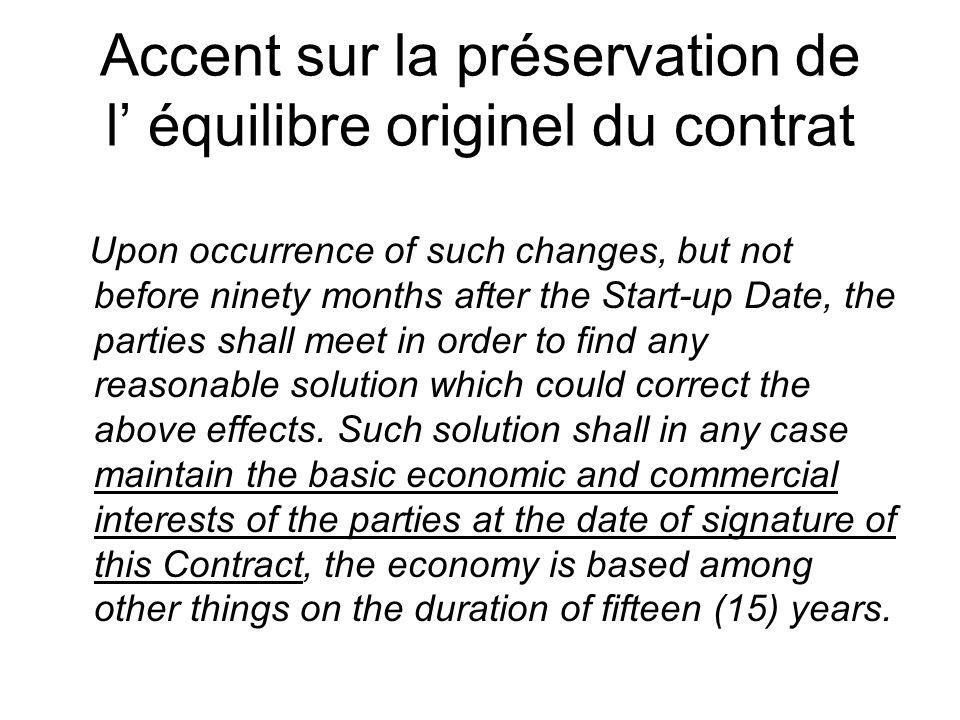 Accent sur la préservation de l' équilibre originel du contrat