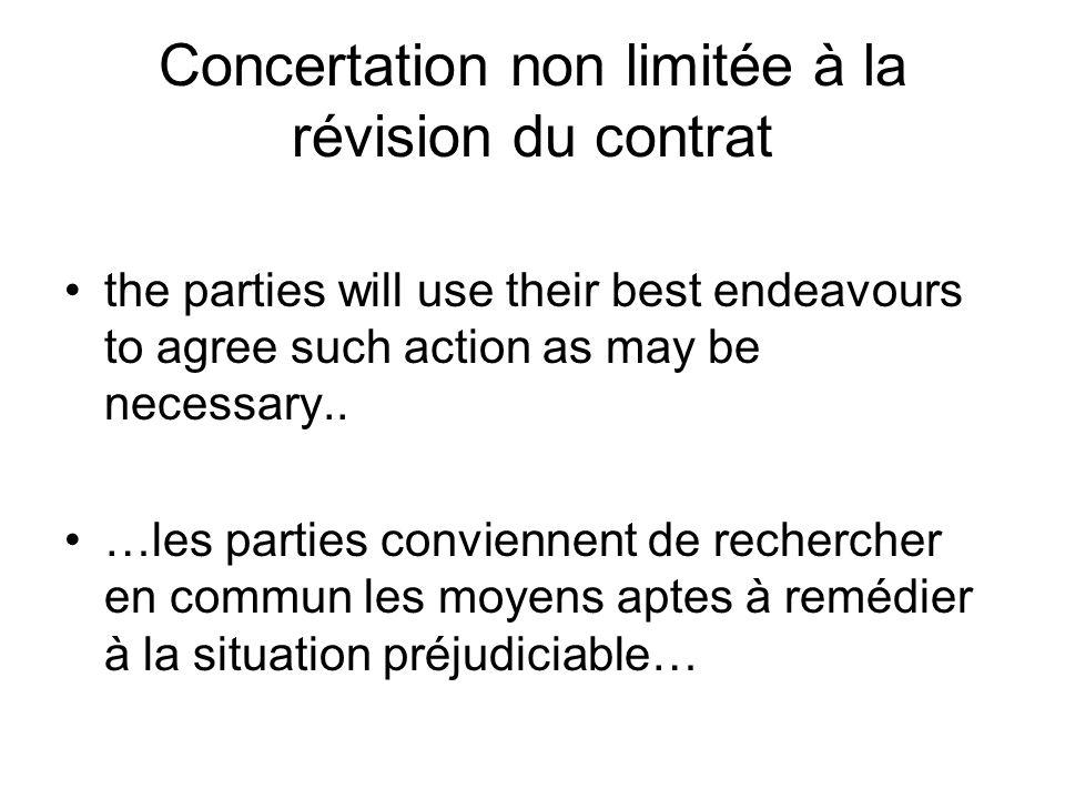 Concertation non limitée à la révision du contrat