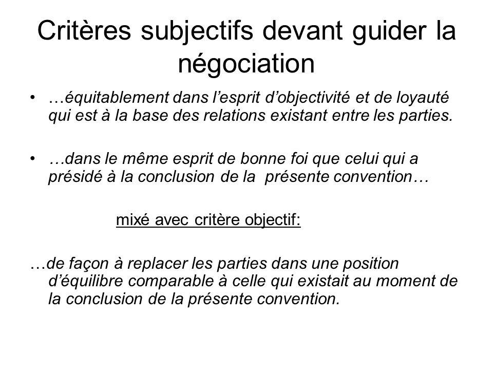 Critères subjectifs devant guider la négociation