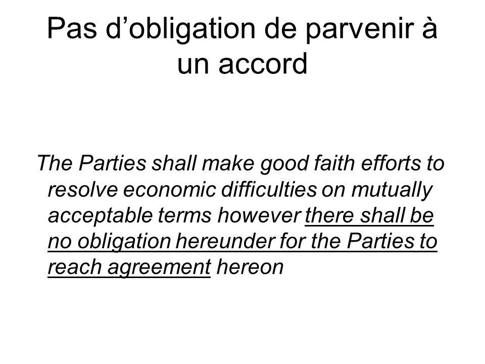 Pas d'obligation de parvenir à un accord