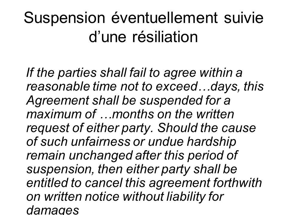 Suspension éventuellement suivie d'une résiliation