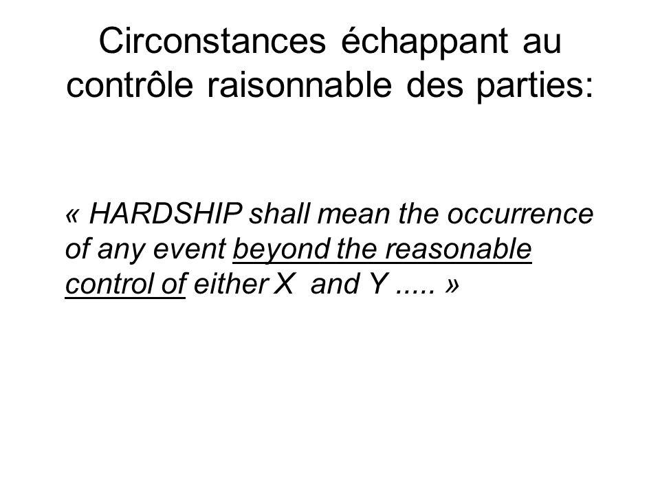 Circonstances échappant au contrôle raisonnable des parties: