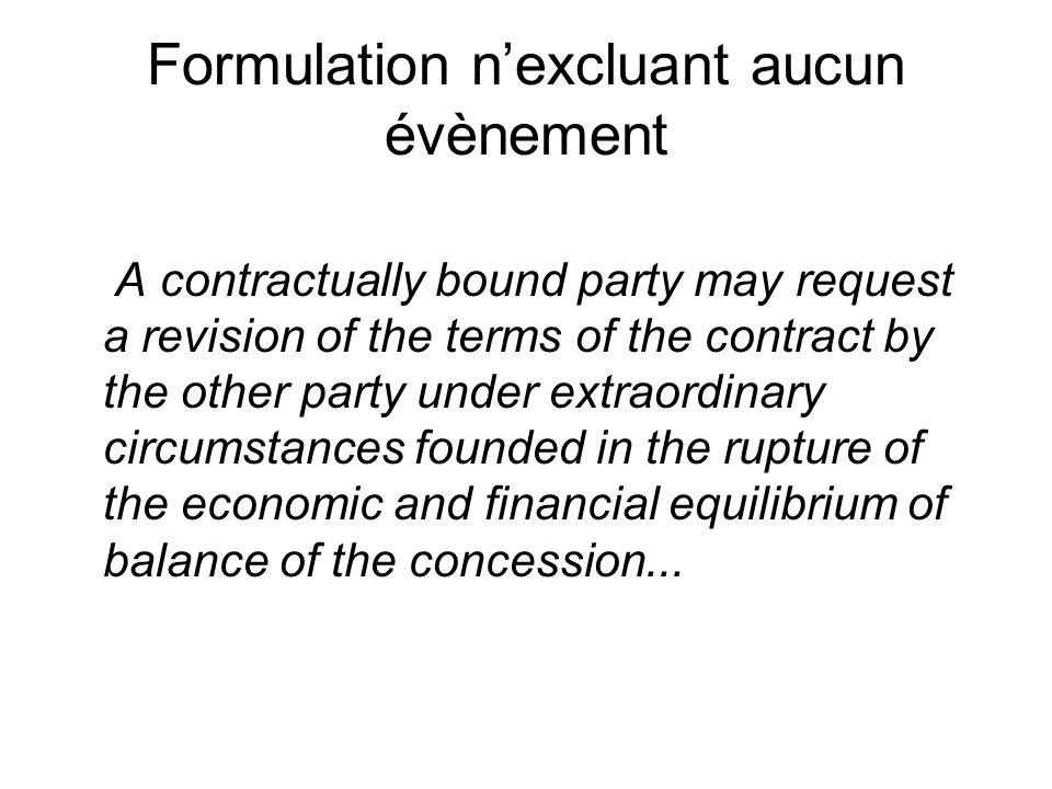 Formulation n'excluant aucun évènement