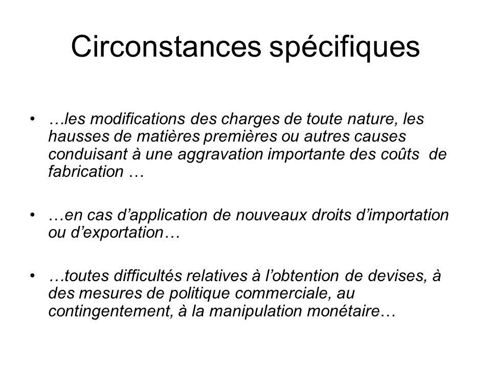 Circonstances spécifiques