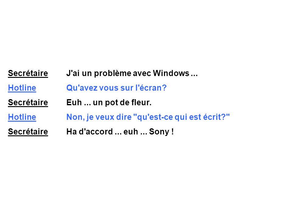 Secrétaire J ai un problème avec Windows ...