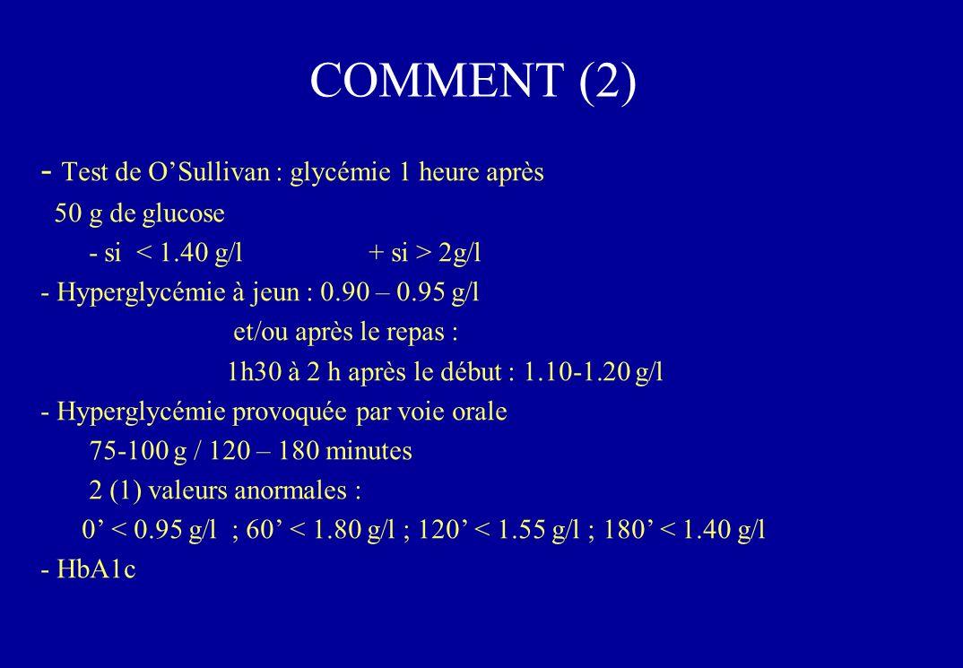 COMMENT (2) Test de O'Sullivan : glycémie 1 heure après